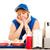 de · comida · rápida · trabajador · azul · bandeja - foto stock © lisafx