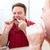 homem · fio · dental · limpeza · dentes · banheiro - foto stock © lisafx