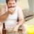 embonpoint · homme · manger · regarder · tv · photo - photo stock © lisafx