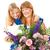 nina · ramo · flores · madres · día · niña · feliz - foto stock © lisafx