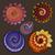 vector set of colored contour floral doodles stock photo © lissantee