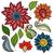 virágmintás · ikon · gyűjtemény · virágok · levelek · vonal · művészet - stock fotó © lissantee