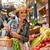 nő · szalmakalap · tart · kosár · zöldségek · gyümölcs - stock fotó © lithian
