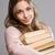 fiatal · barna · hajú · nagy · köteg · könyvek · portré - stock fotó © lithian