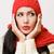 ijedt · nő · meleg · kockás · portré · háttér - stock fotó © lithian