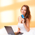 gorgeous brunette using laptop stock photo © lithian