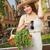 femme · chapeau · de · paille · panier · légumes · fruits - photo stock © lithian