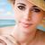 クローズアップ · 肖像 · ブルネット · 女性 · 熱帯ビーチ · 小さな - ストックフォト © lithian