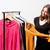 vásárló · választ · ruházat · gondolkodik · nő · néz - stock fotó © lithian
