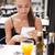 mujer · bonita · cena · noche · aire · libre · restaurante · comer - foto stock © lithian