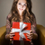 güzel · esmer · içinde · hediye · kutusu · portre · genç - stok fotoğraf © lithian