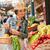 vrouw · strohoed · mand · groenten · vruchten - stockfoto © lithian
