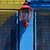 red street lamp and a yellow blue wall in la boca stock photo © lkpro