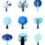 abstract winter vector trees set isolated on white stock photo © lordalea