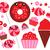 vektör · tatlı · elemanları · etiketler · gıda · kek - stok fotoğraf © lordalea
