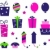 birthday party icons and elements isolated on white   pink blue stock photo © lordalea