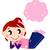 csinos · lány · gondolkodik · illusztráció · fiatal · lány · léggömb - stock fotó © lordalea