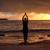 jóga · nő · meditál · megnyugtató · tenger · óceán - stock fotó © lovleah