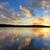 zonsondergang · boten · hemel · wolken · bergen · golf - stockfoto © lovleah