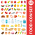 Big set icons food, flat style. Fruits, vegetables, meat, fish, bread, milk, sweets.   isolated on w stock photo © lucia_fox