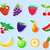 cute cartoon fruit sticker set vector illustration stock photo © lucia_fox