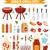 conjunto · churrasqueira · carvão · vegetal · fogueira · coleção · churrasco - foto stock © lucia_fox
