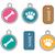 medallion dog tag set of icons flat cartoon style isolated on white background vector illustrat stock photo © lucia_fox