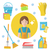 set of icons for cleaning tools house cleaning staff flat design style cleaning design elements stock photo © lucia_fox