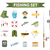 fishing icon set flat cartoon style fishery collection objects design elements isolated on whit stock photo © lucia_fox