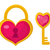 heart lock and key icon flat design valentines day love dating wedding concept isolated on wh stock photo © lucia_fox