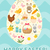 happy easter greeting card flyer poster with a set icons symbols of easter spring cute template stock photo © lucia_fox