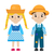 festa junina girl and boy in traditional festive costume icon flat cartoon style isolated on white stock photo © lucia_fox