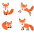 cute fox set flat style foxy in different poses sleeping jumping sitting character mascot vec stock photo © lucia_fox