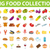 Big set icons food, flat style. Fruits, vegetables, meat, fish, bread, milk, sweets. Meal icon isola stock photo © lucia_fox