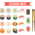 sushi set icons element for design flat style japanese rolls wasabi soy sauce ginger chopstic stock photo © lucia_fox