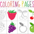 coloring book page set fruits collection sketch and color version for kids childrens education stock photo © lucia_fox