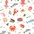 seafood seamless pattern fish food endless background texture underwater sea life backdrop vect stock photo © lucia_fox