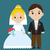bride and groom icon characters flat style wedding concept marriage vector illustration stock photo © lucia_fox