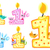 set happy first birthday candle and animals isolated on white background vector illustration stock photo © lucia_fox