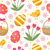 cute easter seamless pattern with eggs in basket birds and flowers endless spring background text stock photo © lucia_fox
