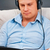 casual man listening music with headphones at home stock photo © luckyraccoon