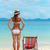 красивой · Hat · солнечные · ванны · тропический · пляж · женщину - Сток-фото © luckyraccoon