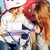 redhead girl in helmet learning riding bike stock photo © luckyraccoon