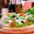 heerlijk · gevuld · champignons · kaas · pesto · lunch - stockfoto © luckyraccoon