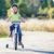 portré · vicces · kiabál · kerékpáros · biciklis · nyár - stock fotó © luckyraccoon