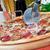 pizza · salame · cogumelos · madeira · saúde - foto stock © luckyraccoon