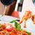 geserveerd · omhoog · saus · kerstomaatjes · voedsel - stockfoto © luckyraccoon