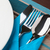 ナイフ · フォーク · スプーン · プレート · 表 · 金属 - ストックフォト © luckyraccoon
