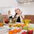 gelukkig · chef · vruchtensalade · keuken · achtergrond · restaurant - stockfoto © lunamarina