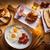 フライド · 卵 · ベーコン · 木製のテーブル · 食品 · 白 - ストックフォト © lunamarina